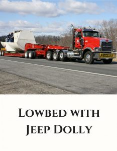 100 Ton Lowbed with Jeep Dolly Trucking Services